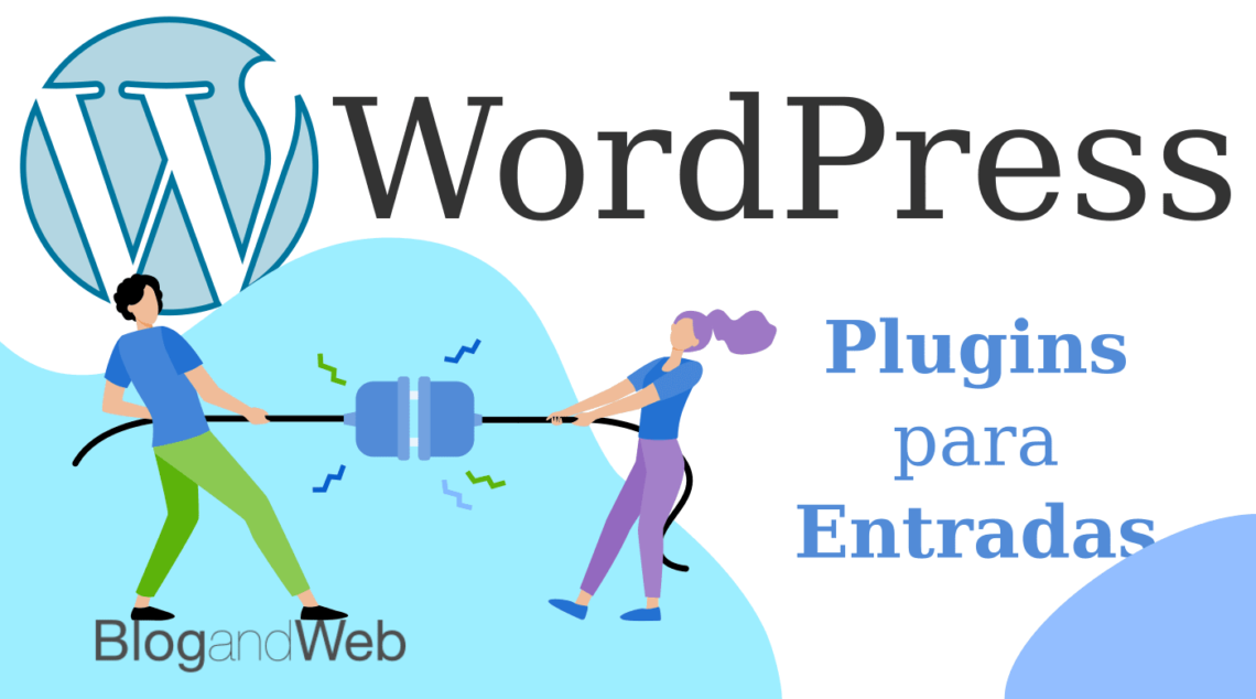 Ilustración con el logo de WordPress y el texto: Plugins para entradas.