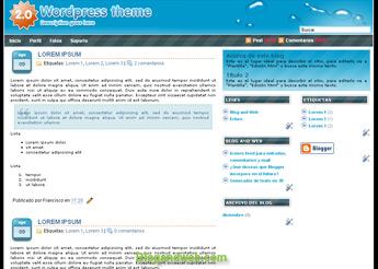 """Plantilla llamada o2. Esta basada en el theme para wordpress """"O2"""" de Eches, adaptado para Blogger por BlogandWeb"""