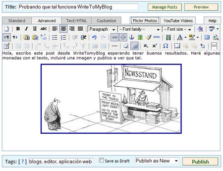 editor de texto de WriteMyBlog
