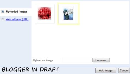 cajón de insertar imágenes en Blogger in Draft
