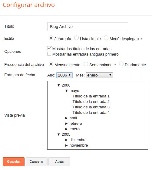 Captura del formulario de configuración del widget de archivo.
