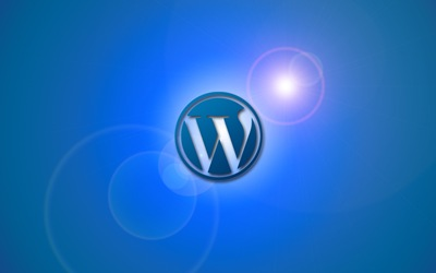 WordPress con destellos y fondo azul