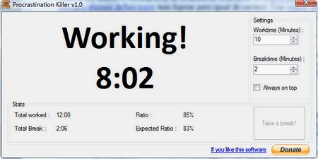Procrastination Killer, un programa gratuito para el método (10+2)*5