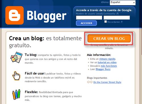 Página de entrada a Blogger