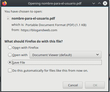 Dialogo de descarga de un archivo PDF
