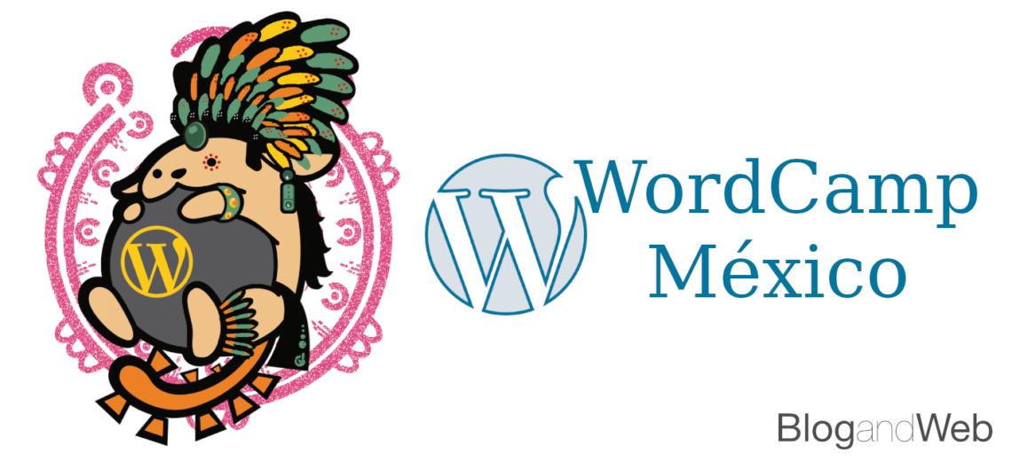 Logo de WordCamp México e ilustración con la mascota de WordPress en estilo prehispánico..