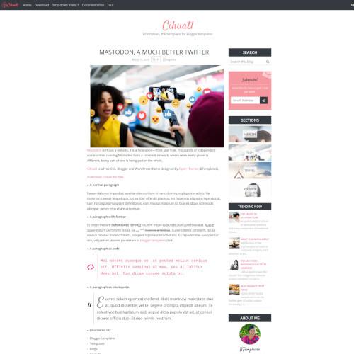 Captura de una entrada individual de un blog en Blogger