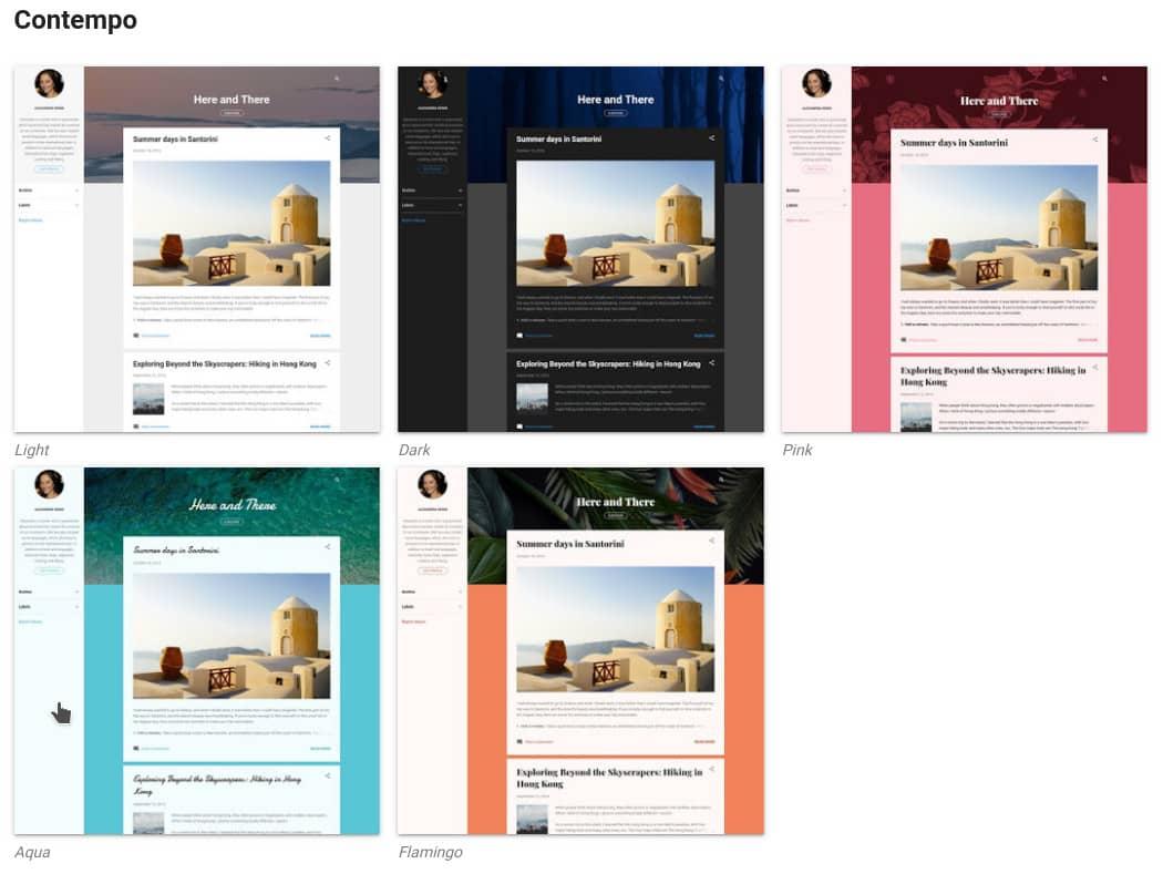 Captura de los temas por defecto en Blogger