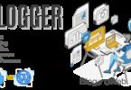 Ilustración con un Blogger escribiendo con letras a su lado que dicen: Blogger, guía de blogging, Blogger y WordPress.